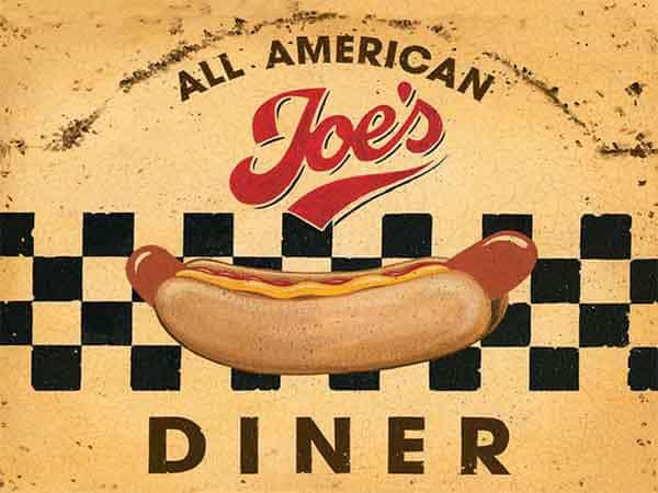 Plaque de restaurant americain Joe s Diner