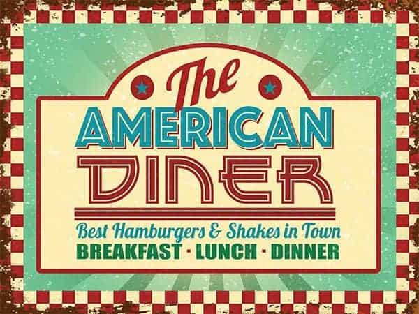 Plaque de restaurant americain
