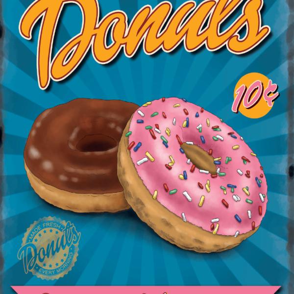 Plaque de restaurant americain Donuts