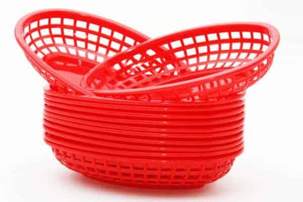 Panier ovale Lot de 12 – Rouge