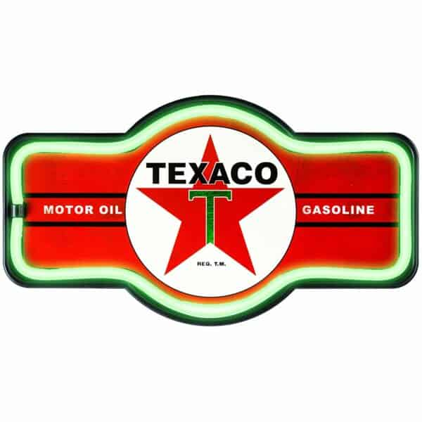 Enseigne neon led decoration americaine murale Texaco Gasoline