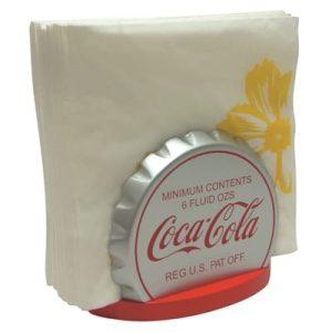 Porte serviette de la marque coca cola en forme de capsule de bouteille