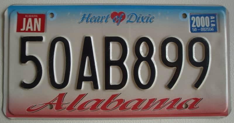 Alabama_A1 Plaque d'immatriculation americaine swap meet