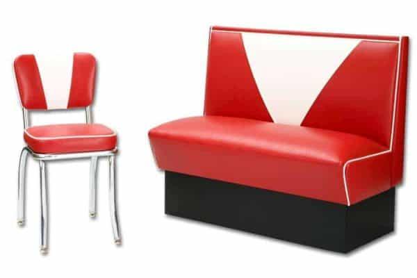 Chaise de restaurant américain Diner 1950's  «V» Vintage Rouge