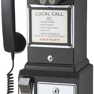 Téléphone de Cabine Payphone Américain Vintage 50's Noir