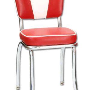 Chaise de restaurant americain vintage rouge et blanche et chaise de diner_4