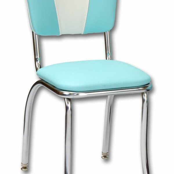 Chaise de restaurant americain vintage turquoise et blanche de diner