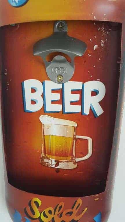 Plaque métal avec décapsuleur Cold Beer