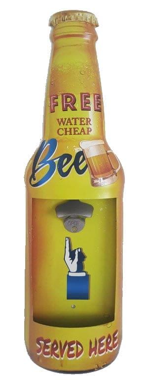 Plaque métal avec décapsuleur Free Beer