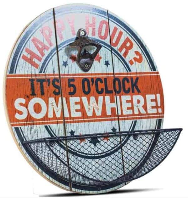 Plaque ronde avec décapsuleur Happy Hour