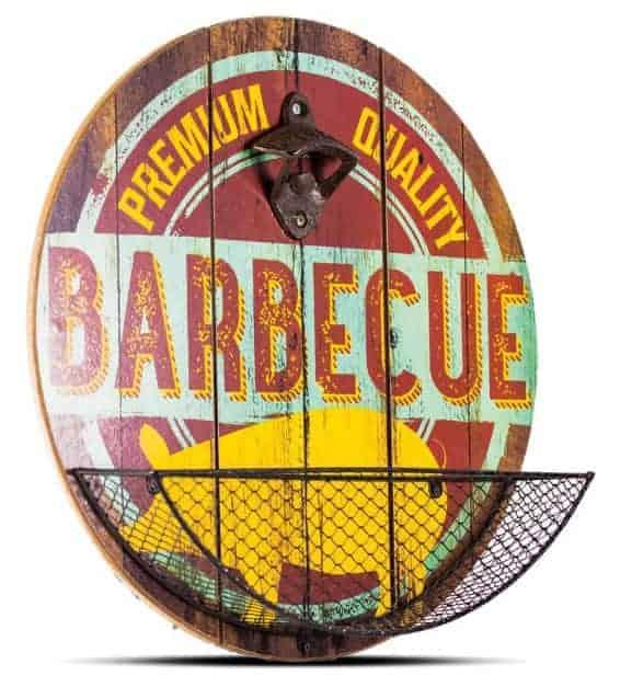 Plaque ronde avec décapsuleur Premium BBQ
