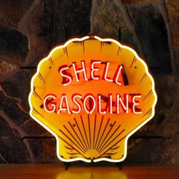 Shell neon publicitaire en verre