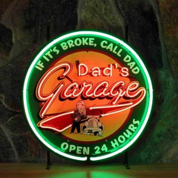 Dad's Garage neon publicitaire en verre
