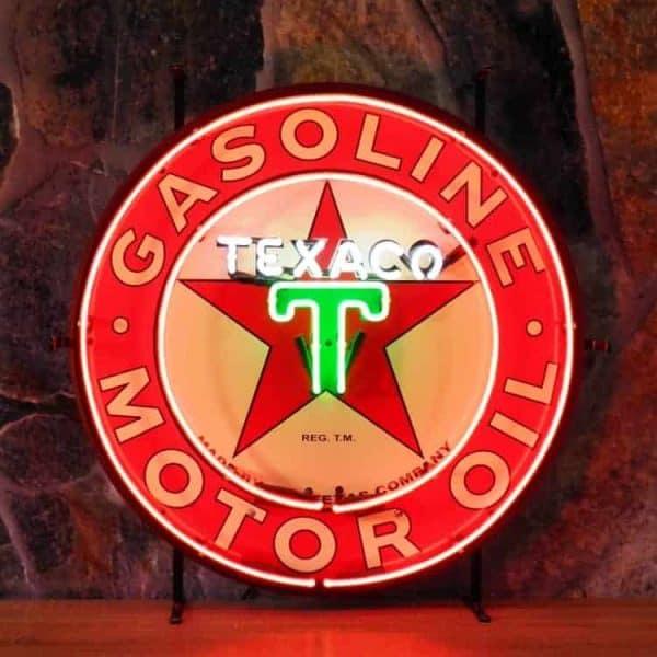 Texaco neon publicitaire en verre