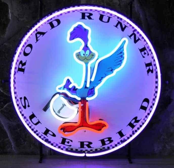 Plymouth Road Runner Superbird neon publicitaire en verre