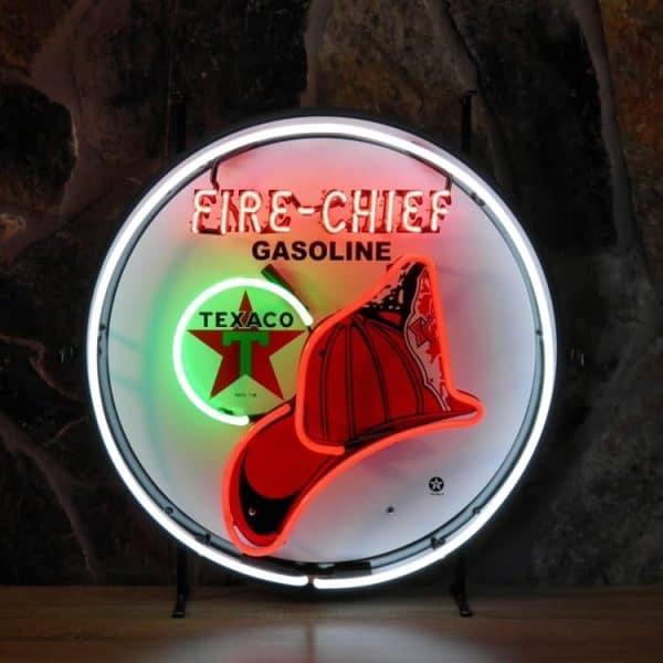 Texaco Fire Chief neon publicitaire en verre