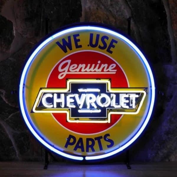 Chevrolet, we use parts neon publicitaire en verre