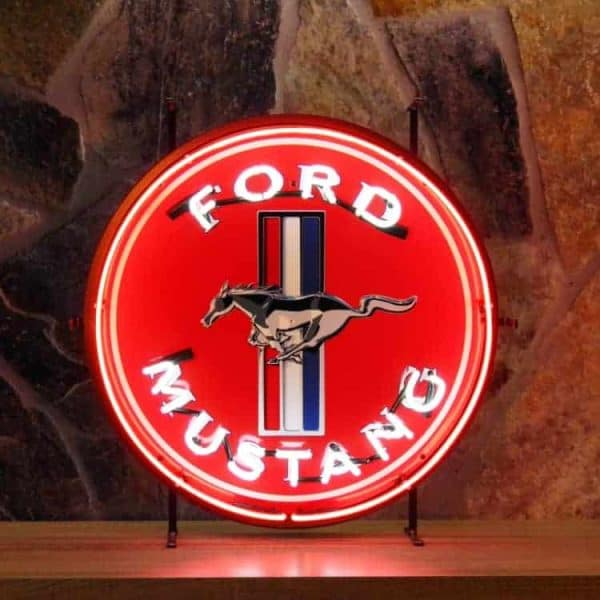 Ford Mustang neon publicitaire en verre