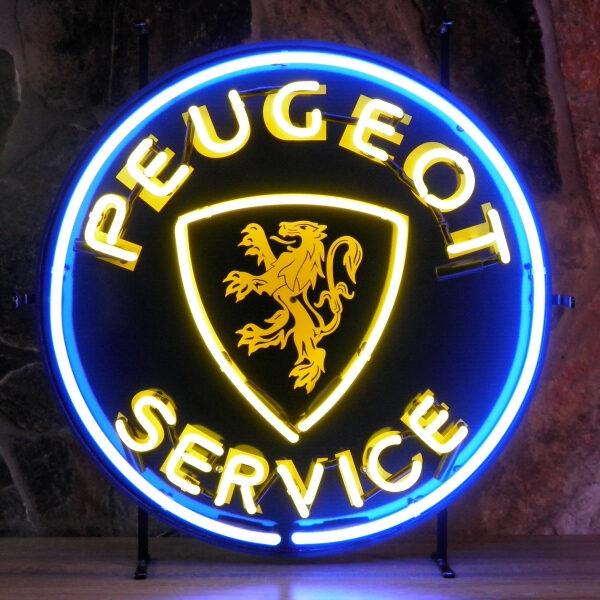 Peugeot service neon publicitaire en verre