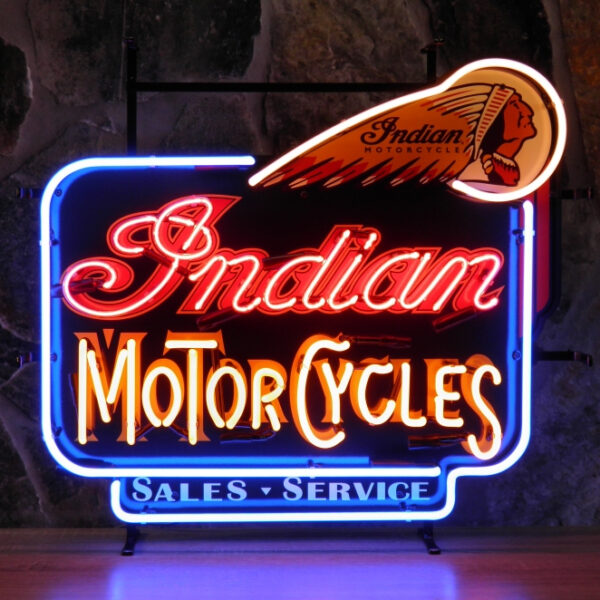 Indian motorcycles neon publicitaire en verre