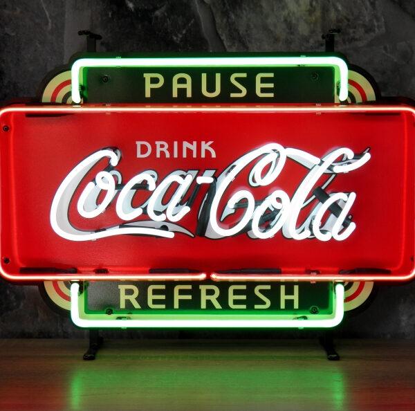 Coca-Cola fifties pause refresh neon publicitaire en verre