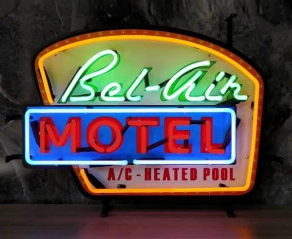 Enseigne Néon Lumineuse Décoration Américaine Bel Air Motel