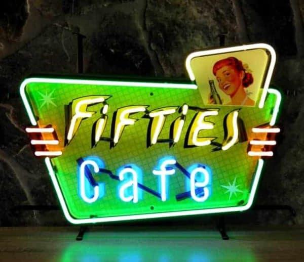 Enseigne Néon Lumineuse Décoration Américaine Fifties Cafe