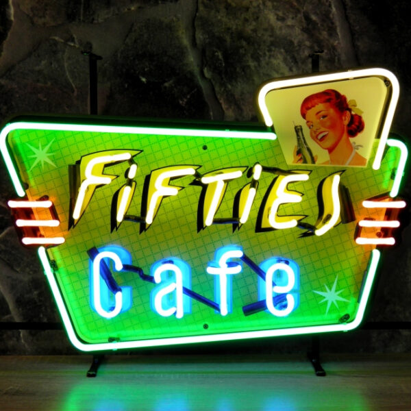 Fifties cafe neon publicitaire en verre