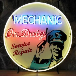 Mechanic on duty neon publicitaire en verre