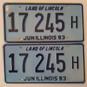 Illinois_A2Blue_PAIRE Plaque d'immatriculation americaine authentique
