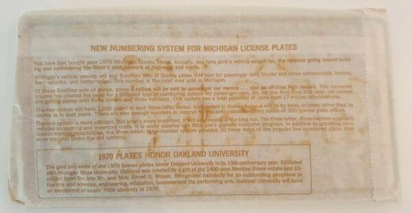 Plaque d'immatriculation USA – MICHIGAN – 2 Plaques identiques