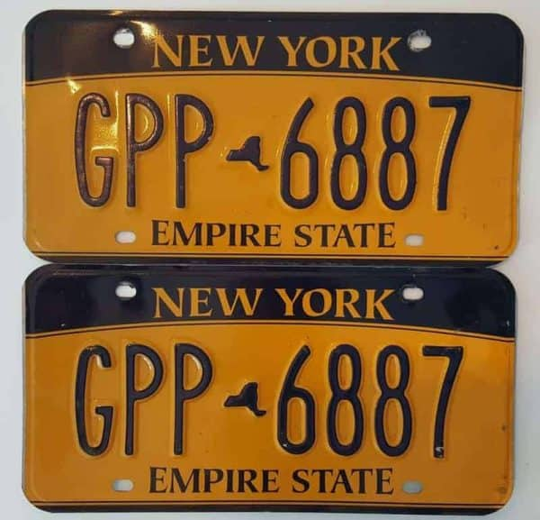 Plaque d'immatriculation USA – NEW YORK – 2 Plaques identiques