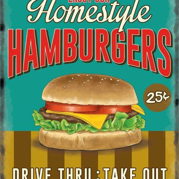 Plaque publicitaire de décoration murale 10086-burger