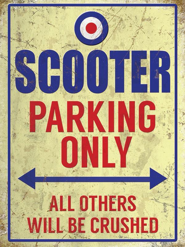 Plaque de décoration murale Scooter Parking Only