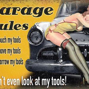 Plaque publicitaire de décoration murale 5238 Garage Rules Borrow Tools