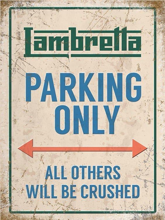Plaque de décoration murale Lambretta Parking Only