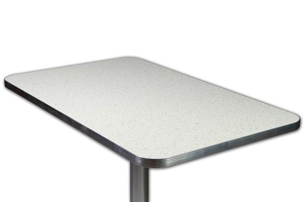 Table rétro Pailleté Blanc MEMPHIS et Pied colonne chromée 107cm