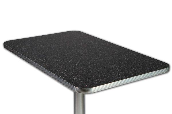Table rétro Pailleté Noir MEMPHIS et Pied colonne chromée 107cm