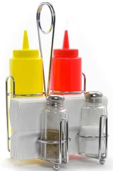 Rack chrome avec distributeur ketchup et moutarde de restaurant americain