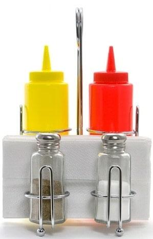 Rack de Table avec Distributeur Ketchup & Moutarde