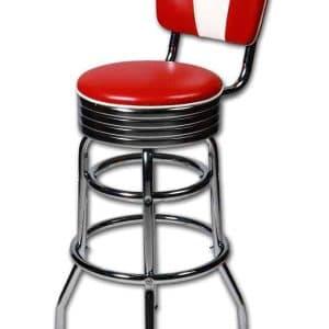 Tabouret de bar americain au design chrome retro et vintage dossier rouge