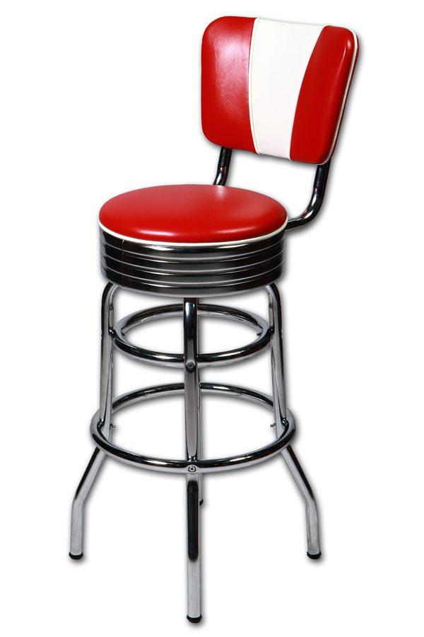 Tabouret bar américain avec dossier «V» – Rouge