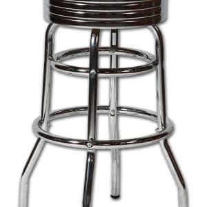 Tabouret de bar americain au design chrome retro et vintage rouge