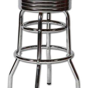 Tabouret de bar americain au design chrome retro et vintage turquoiseTabouret de bar americain au design chrome retro et vintage turquoise