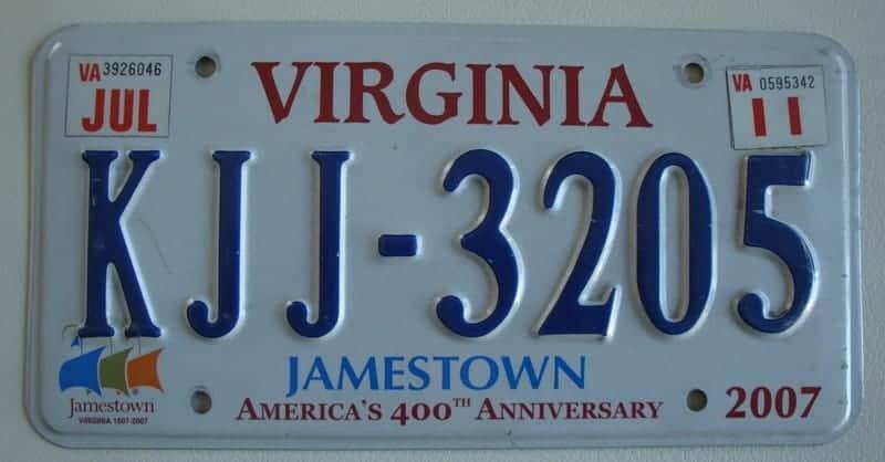 Plaque d'immatriculation authentique provenant de voiture americaine de collection
