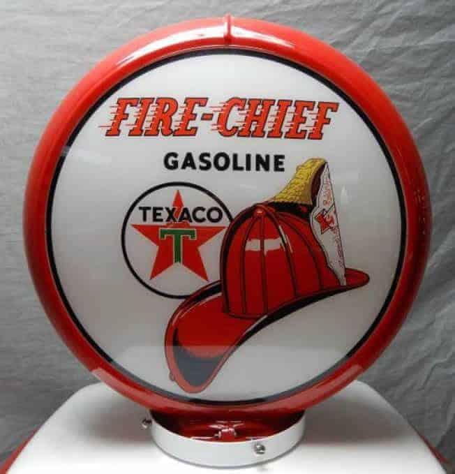 Texaco Fire Chief Globe publicitaire de pompe a essence
