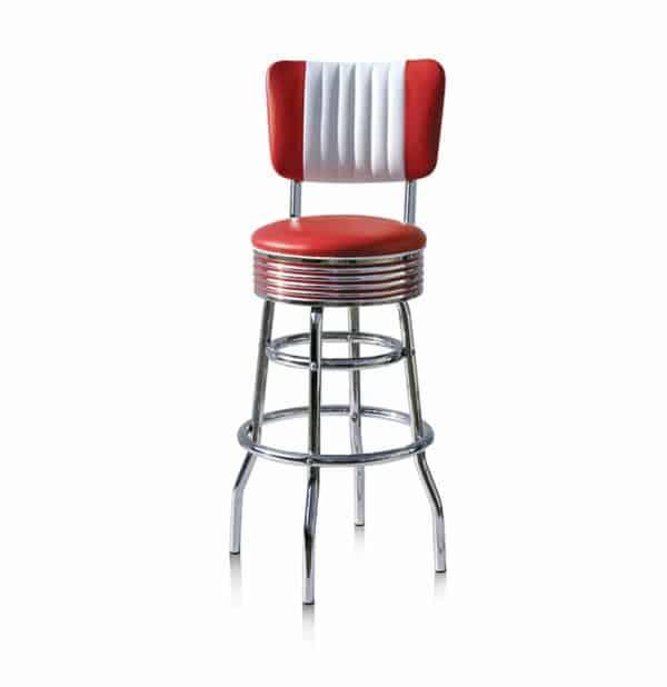 Tabouret de bar avec dossier – Rouge