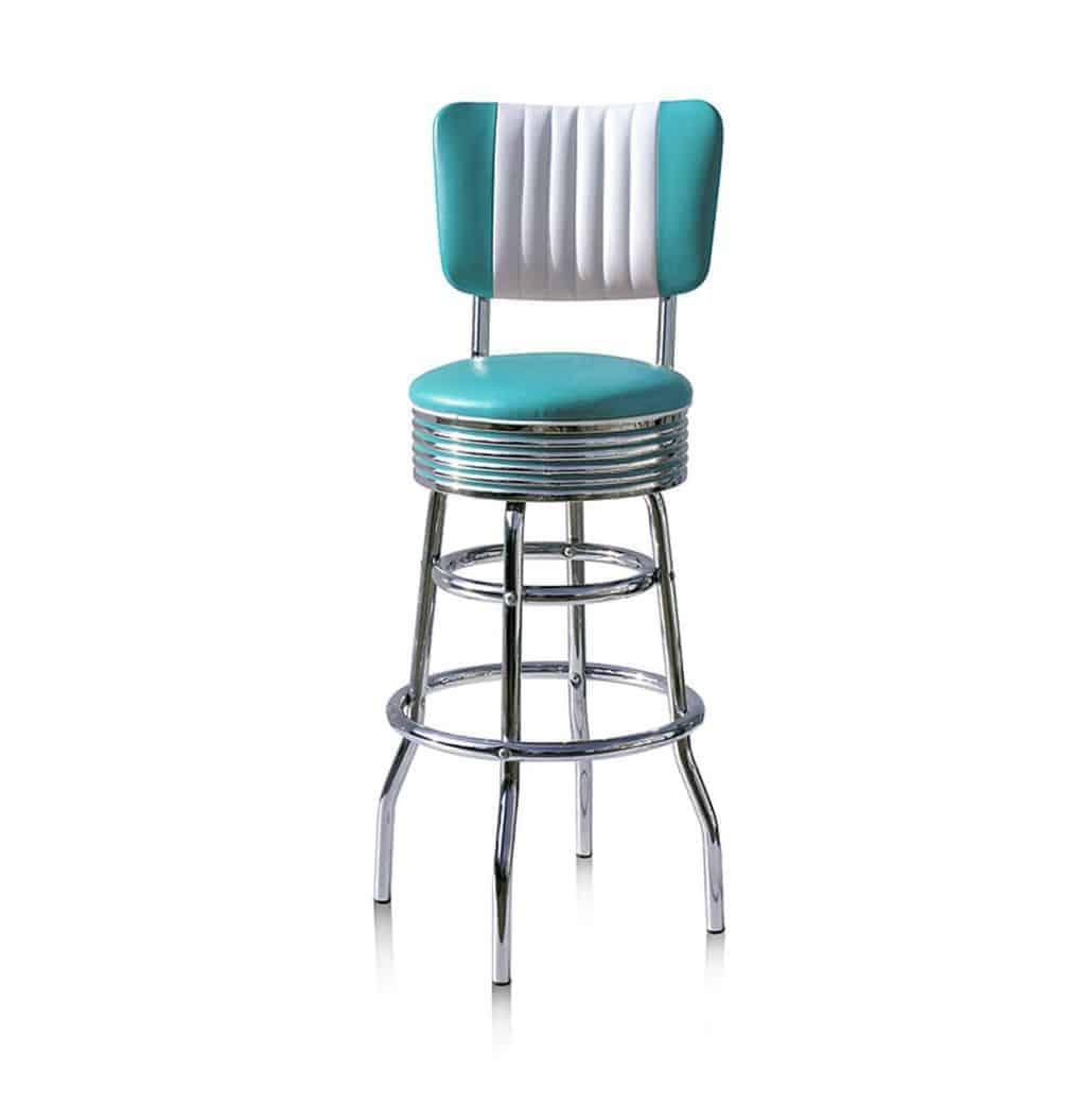BS29CB Turquoise Tabouret de bar americain vintage