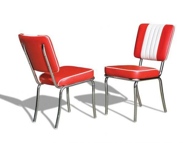 Chaise de restaurant americain de type fonzie happy days_rouge