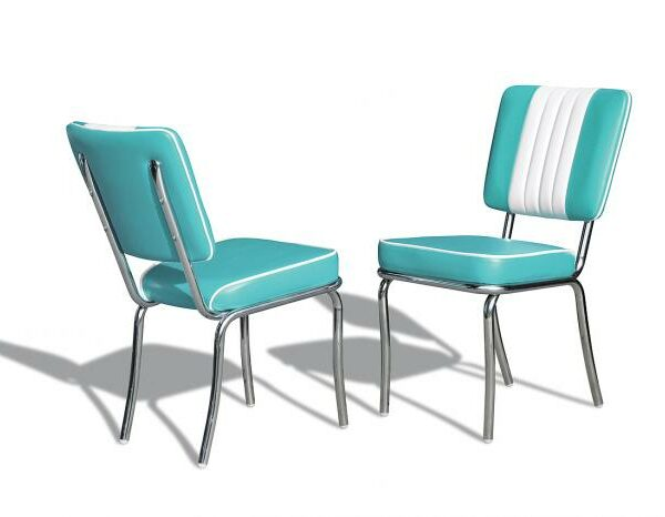Chaise de restaurant americain de type fonzie happy days_turquoise